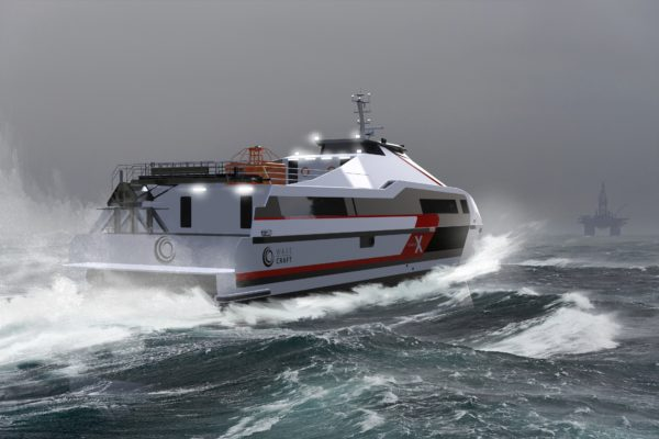 The seabourne helicopter: WAVECRAFT Voyager 38 X high-performance CTV for O&G sector is equipped with several personnel transfer systems (speed over 55kn).